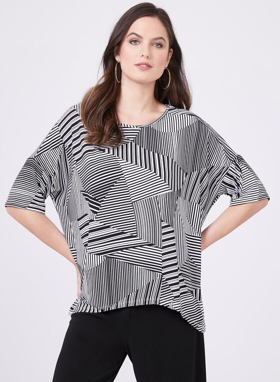 Clara Sunwoo - Short Sleeve Contrast Stripe Top, White, hi-res