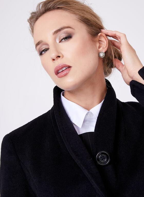 Ellen Tracy - Manteau en laine mélangée avec ceinture, Noir, hi-res