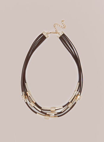 Multi Row Metallic Detail Necklace, Brown,  necklace, jewellery, metallic, cord, leather, bead, fall winter 2020