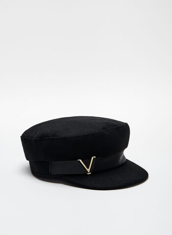 Gold Detail Military Cap, Black, hi-res