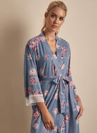 Comfort & Co. - Floral Print Lace Detail Robe, Blue