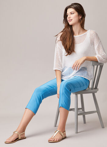 Stitch Detail Pull-On Capris, Blue,  capris, pull-on, bengaline, slim, stitch, pleats, spring summer 2020