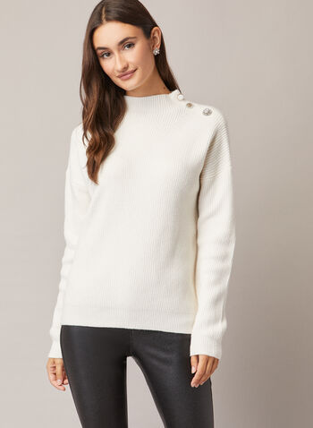 Button Detail Mock Neck Sweater, Off White,  sweater, button details, ribbed knit, long sleeves, fall winter 2020