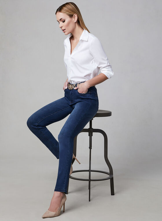 Simon Chang - Straight Leg Jeans, Blue