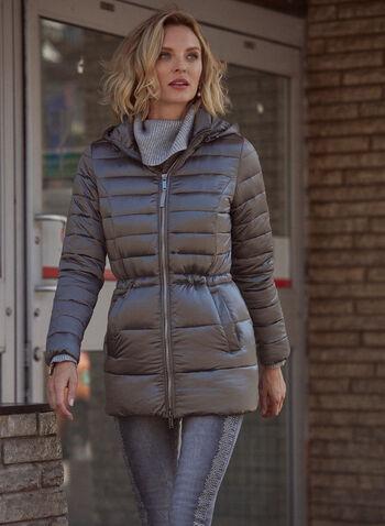 Manteau matelassé à fermoir apparent, Gris,  automne hiver 2021, manteau, extérieur, capuchon amovible, manches longues, fermeture à glissière apparente, ajusté, cintré, poches, matelassé