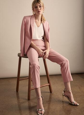 Pantalon Amber à jambe étroite, Rose,  pantalon, amber, jambe étroite, boutons, taille haute, pinces, coutures, printemps été 2020