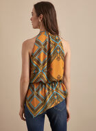 Royal Print Sleeveless Blouse, Yellow
