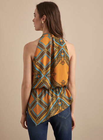 Royal Print Sleeveless Blouse, Yellow,  blouse, royal print, sleeveless, round neck, crepe, asymmetric, spring summer 2020