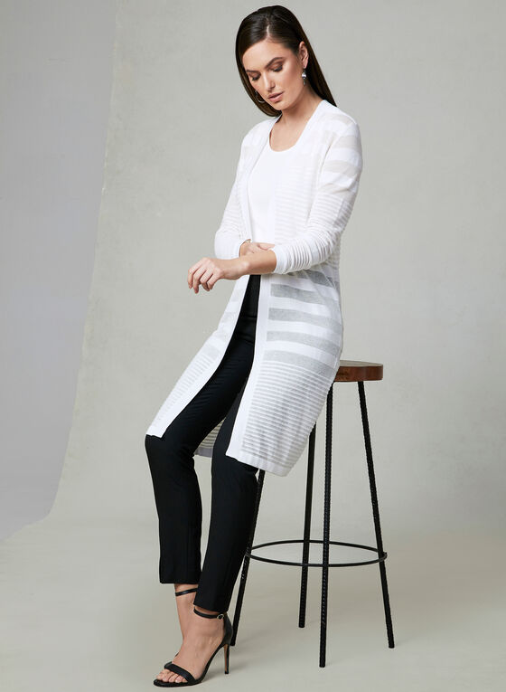 Ribbed Open Front Cardigan, Off White, hi-res