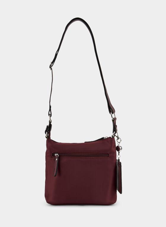 Zipper Top Crossbody Bag, Red