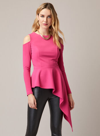Asymmetric Cold Shoulder Top, Red,  top, asymmetric, cold shoulder, scuba, stretchy, fall winter 2020