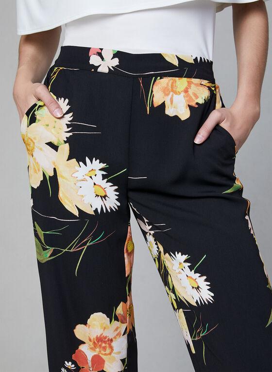 Pantalon jambe large à imprimé floral, Noir, hi-res