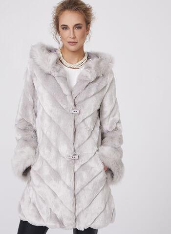 Nuage - Manteau en fausse fourrure à capuchon, , hi-res