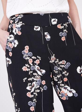 Frank Lyman - Floral Wide Leg Pants, Black, hi-res
