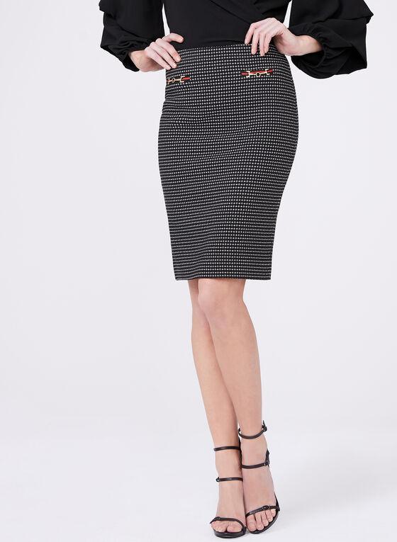 Jacquard Print Pencil Skirt, Black, hi-res