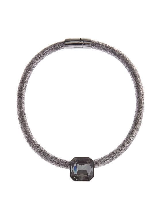 Collier avec pierre rectangulaire sur cordon, Gris, hi-res