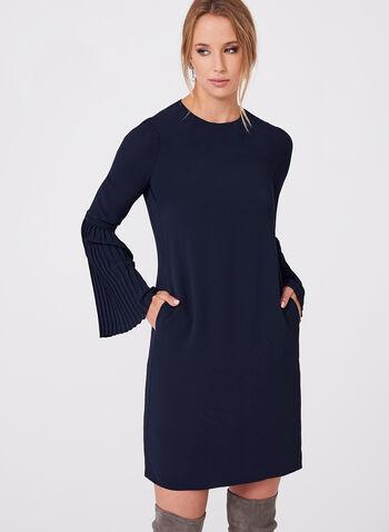 Maggy London - Robe à manches cloche plissées, Bleu, hi-res