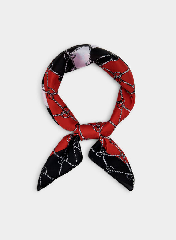 Link Print Scarf, Red