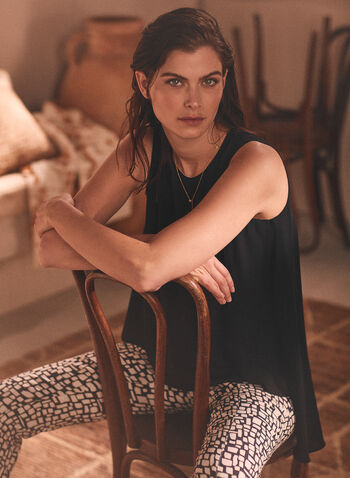 Layered Sleeveless Blouse, Black,  spring summer 2021, tops, tank, blouses, boat neck, sleeveless, layered, open back, long hem,