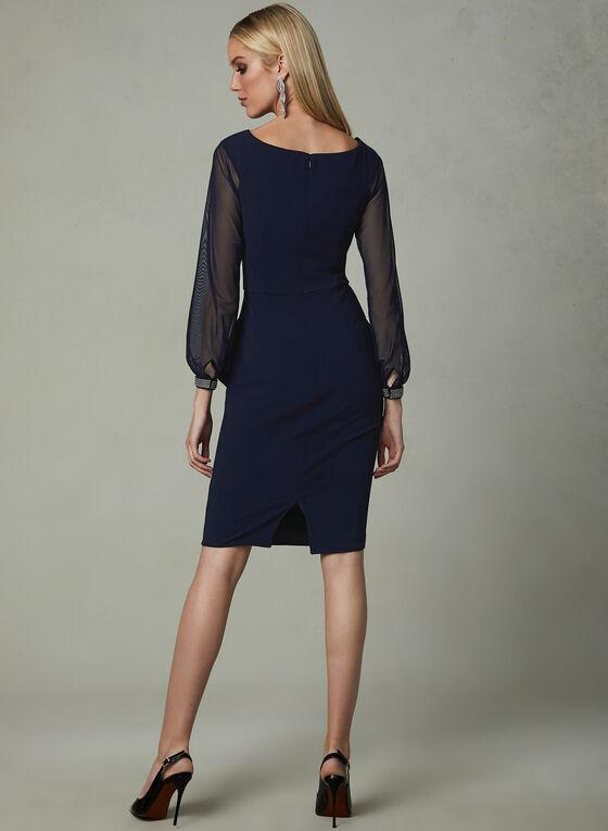 BA Nites - Mesh Sleeve Dress, Blue, hi-res
