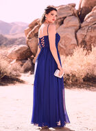 Decode 1.8 - Flower Appliqué Chiffon Gown, Blue, hi-res