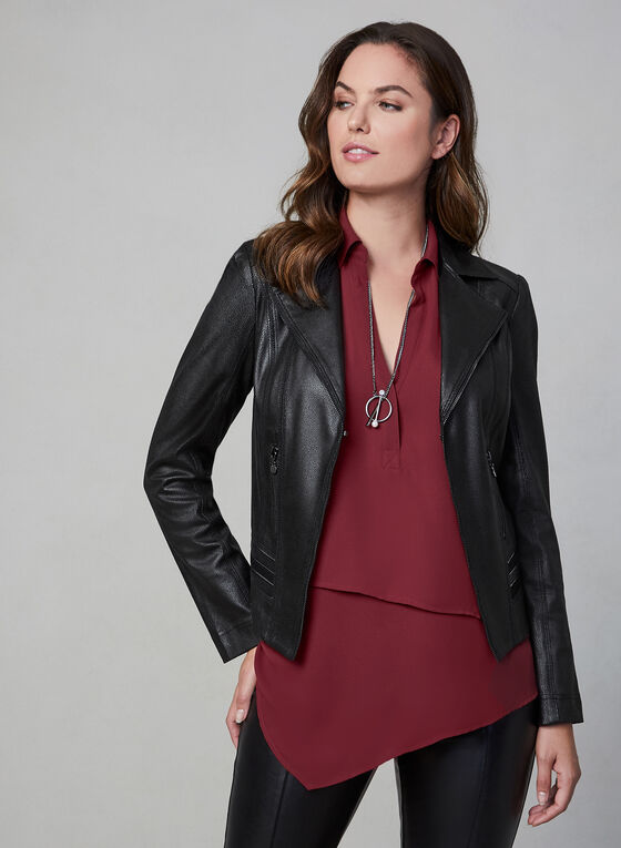 Vex - Faux Leather Jacket, Black
