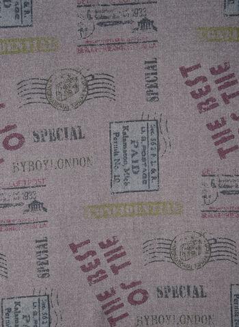 Écharpe à motif timbre, Gris, hi-res,  foulard, timbre, franges, viscose, automne hiver 2019