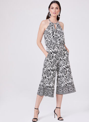 Maggy London - Abstract Print Gaucho Jumpsuit, Black, hi-res
