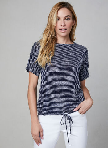 Stripe Print Short Sleeve Top, Blue, hi-res,  Canada, top, short sleeves, high-low hemline, drawstring, stripe print, spring 2019, summer 2019