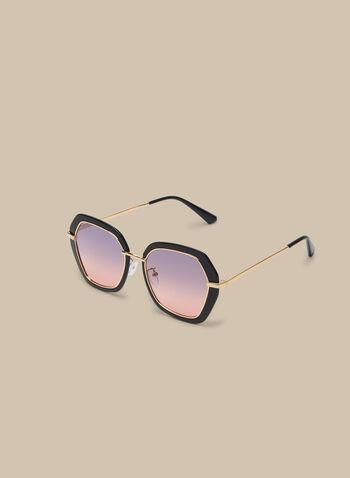 Lunettes de soleil hexagonales, Noir,  lunettes de soleil, plastique, hexagonale, métal, polarisé, printemps été 2020