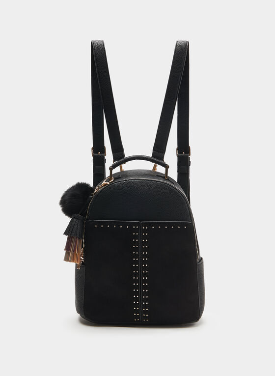 CÉLINE DION - Faux Suede Backpack, Black, hi-res