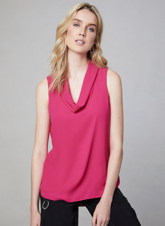 Cowl Neck Sleeveless Top, Multi, hi-res