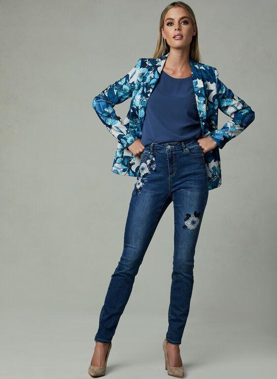 Jean à jambe étroite et broderies florales, Bleu, hi-res