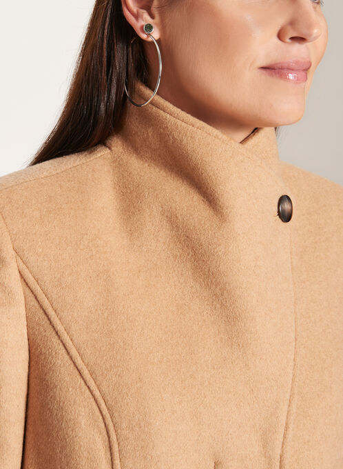 Invisible Button Wool Blend Coat , Brown, hi-res