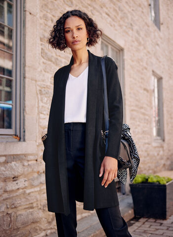 Chain Detail Open Front Cardigan, Black,  fall winter 2021, tops, knitwear, sweaters, cardigans, open, lapel collar, patch pockets, chains, links,