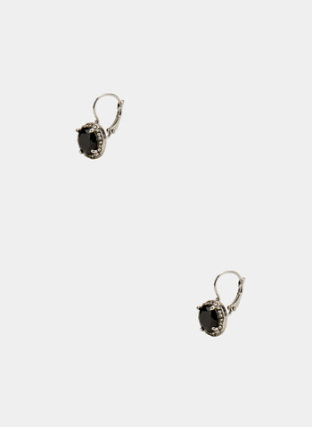 Round Crystal Earrings, Black, hi-res
