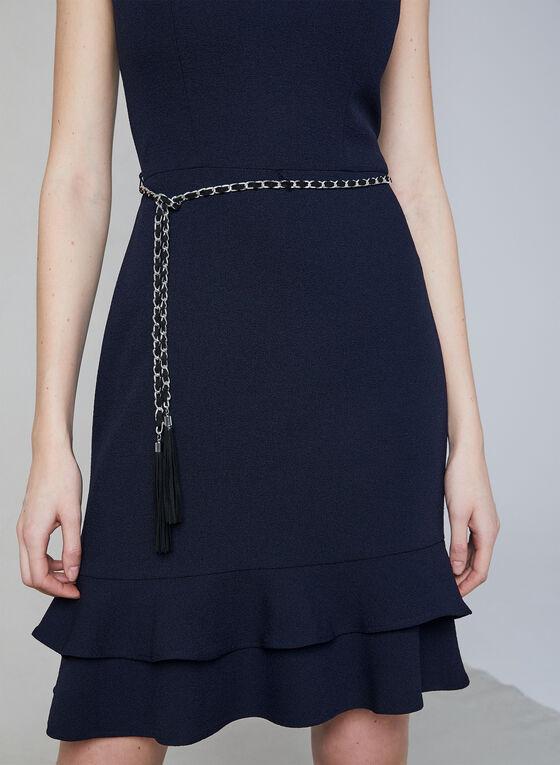 Karl Lagerfeld Paris - Belted Crepe Dress, Blue, hi-res