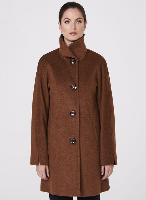 Ellen Tracy - Wool Blend Coat, Brown, hi-res