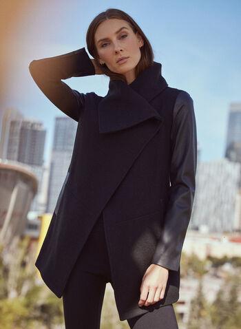 Wool & Vegan Leather Coat, Black,  coat, drape collar, wool, vegan leather, pockets, fall winter 2020