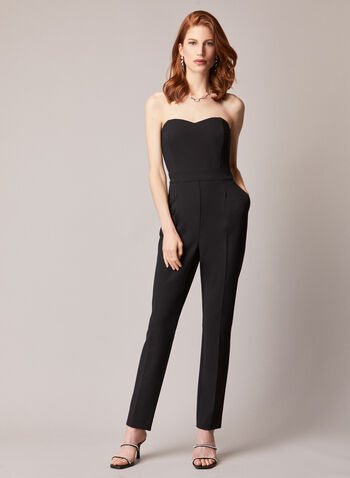 Bustier Style Jumpsuit, Black,  jumpsuit, bustier, peg leg, tapered, exposed back, fall winter 2020