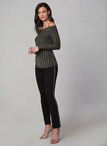 Metallic Off-the-Shoulder Top, Black, hi-res,  fall 2019, winter 2019, long sleeves, metallic