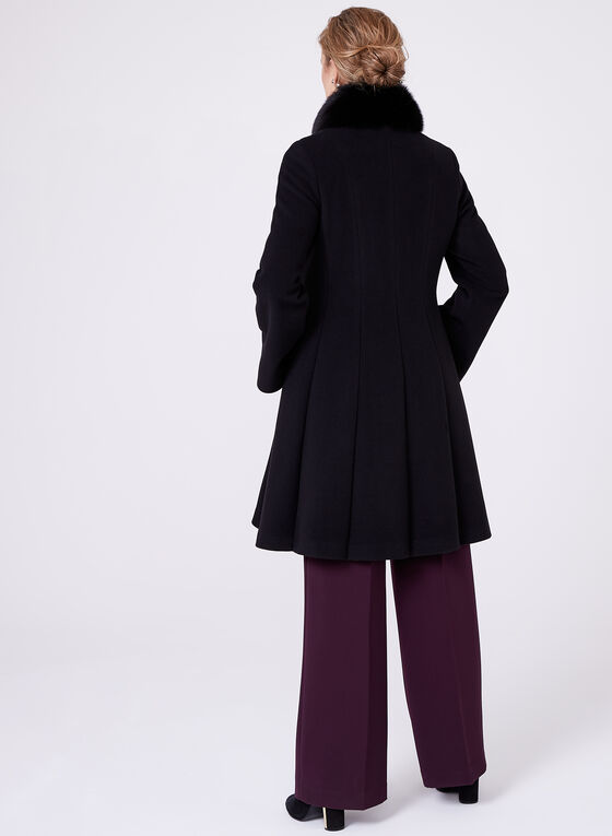 Mallia - Manteau en laine et cachemire avec col en fourrure, Noir, hi-res