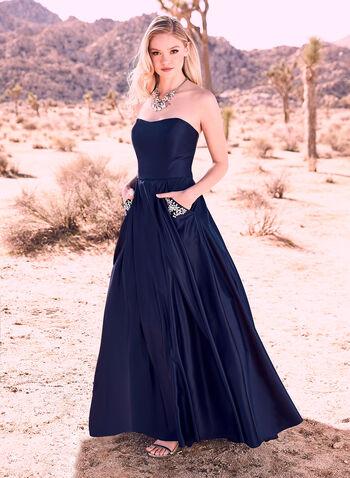 Blondie Nites - Strapless Satin Ball Gown, Blue, hi-res