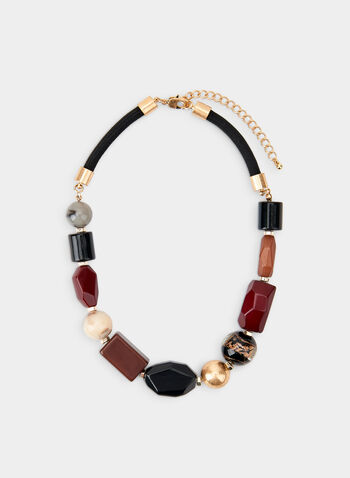 Collier court à billes géométriques, Noir, hi-res,  thick cord, adjustable, beads, pearls, fall 2019, winter 2019