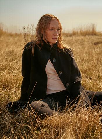 High Collar Wool Blend Coat, Black,  coat, high neck, wool blend, button front, pockets, lined, long sleeves, fall winter 2020