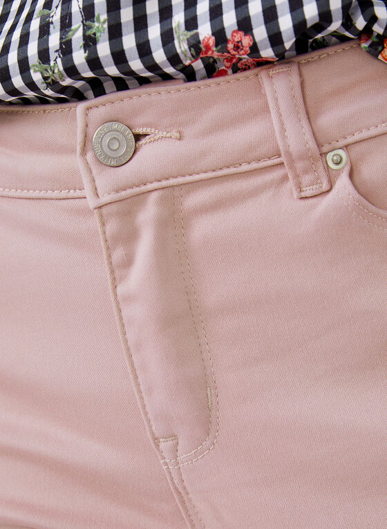 Capri en jean à jambe étroite, Rose, hi-res