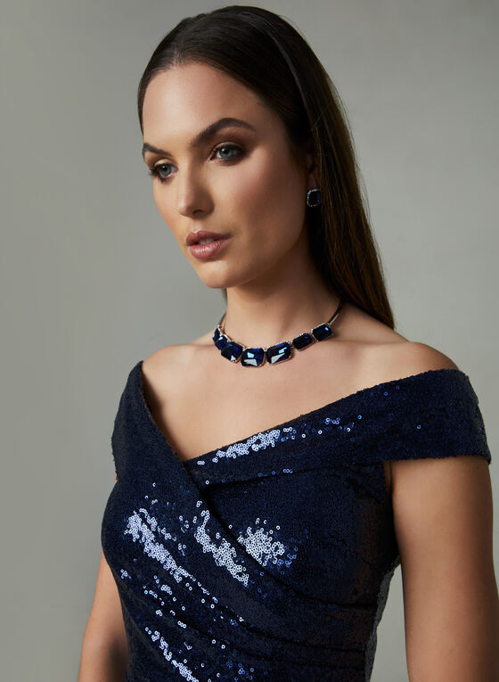 Marina - Off The Shoulder Sequin Dress, Blue, hi-res