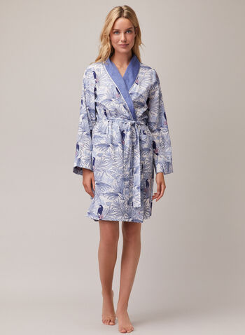Peignoir ceinturé à revers contrastant, Bleu,  pyjama, peignoir, contraste, ceinture, printemps été 2020