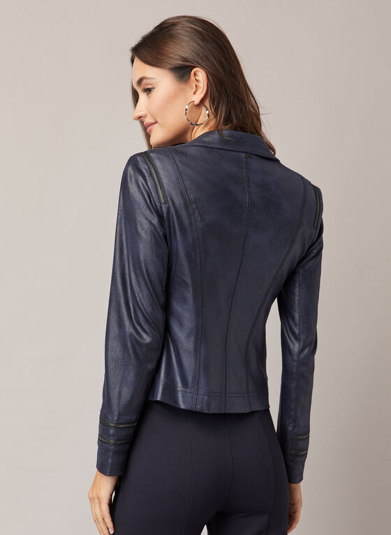 Vex - Fitted Faux Leather Jacket, Blue
