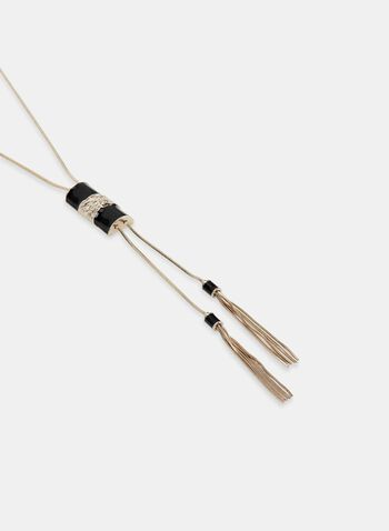 Metallic Tassel Necklace, Black, hi-res